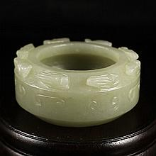 Hand Carved Chinese Natural Hetian Jade Scholar 's Brush Washer