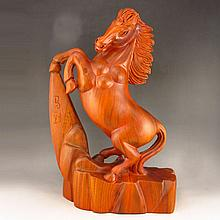 Hand Carved Chinese Natural Hua Li Wood Statue - Horse