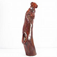 Hand Carved Chinese Natural Hai Nan Huang Hua Li Wood Statue - Taoism Long Life Deity