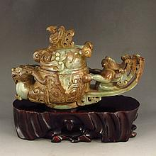 Vintage Hand-carved Chinese Hetian Jade Fortune Beast Incense Burner