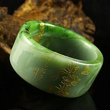 Internal Diameter 56 mm Hand Carved Chinese Natural Green Hetian Jade Bracelet w Goldfish & Lotus Flower