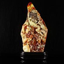 Superb Hand Carved Chinese Natural Shoushan Stone Statue - Dragons & Ball