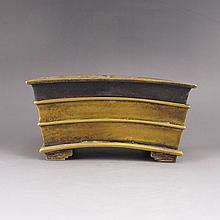 Hollow Out Carved Chinese Brass Incense Burner w Bamboo