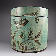 Hand-painted Chinese Su Color Porcelain Caddy w Magpie & Plum Flower