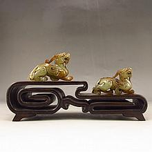 A Pair Vintage Hand-carved Chinese Natural Hetian Jade Statue - Fortune Beasts