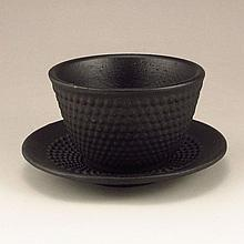 A Set Two Peices Japanese Black Iron Tea Cup