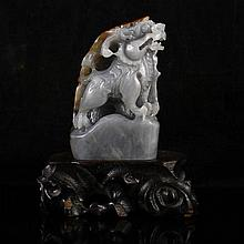 Hand Carved Natural Hetian Jade Statue - kylin