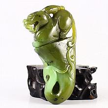 Vintage Hand Carved Chinese Natural Hetian Jade Pendant w Foo Dog