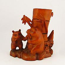 Hand Carved Chinese Natural Boxwood Hard Wood Brush Pot w Panda
