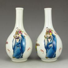 A Pair  Chinese Famille Rose Porcelain Vase w Old Man & Kid