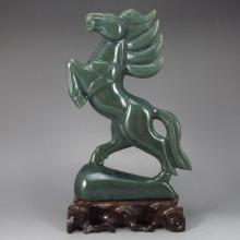Hand-carved Chinese Natural Hetian Jade Statue - Horse