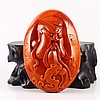 Superb Color Hand Carved Chinese Natural Nan Hong Agate Pendant w Guangong