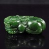 A Pair Hand-carved Chinese Natural Green Hetian Jade Statue - Foo Dogs