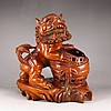 Hand Carved Chinese Natural Boxwood Hard Wood Statue - Lion & Ball