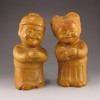 Hand Carved Chinese Boxwood Hard Wood Statue - Luckly Boy & Luckly Girl