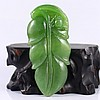 Hand Carved Chinese Natural Green Hetian Jade Pendant w Leaf