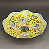 Vintage Chinese Bronze Cloisonne Bowl w Crane Peach & Qian Long Mark