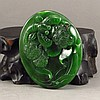 Hand Carved Chinese Natural Green Hetian Jade Pendant - Dragonfly & Lotus Flower