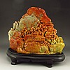 Huge Hand Carved Chinese Natural Shoushan Stone Statue w Village Scene In Remote Mountains