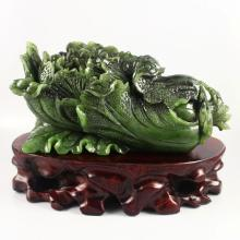 Chinese Natural Green Hetian Jade Statue - Fortune Cabbage
