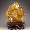Superb Hand-carved Chinese Agate Statue - Magpie & Chayote