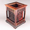 Hollow-out Carved Chinese Natural Hard Wood Brush Pot