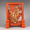 Genuine Chinese Cinnabar Red Ink Block For Ink Stone Statue w Man & Lotus Flower