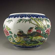 Hand-painted Chinese Famille Rose Porcelain Brush Washer w Mark