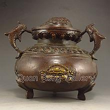 Chinese Bronze 3 Legs Incense Burner Carved Fortune Beast