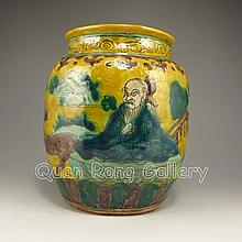 Hand-Painted Chinese Five Color Porcelain Pot