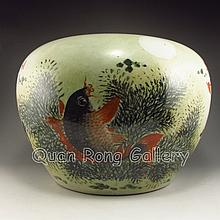 Hand-painted Chinese Su Color Porcelain Goldfish Bowl w Marked