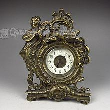 Chinese Bronze Carved Angel Mechanical Clock