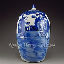 Hand-painted Chinese Blue And White Porcelain Pot w Lid