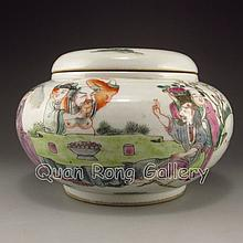 Hand-painted Chinese Famille Rose Porcelain Pot w Mark