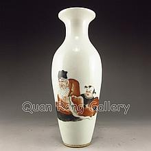 Hand - painted Chinese Su Color Porcelain Vase