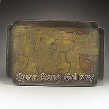Hand Carved Chinese Bronze Plate w Ancient Character