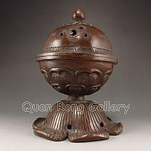 Chinese Bronze Incense Burner & Lid