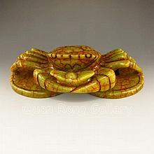 Hand-carved Chinese Natural Jade Statue - Fortune Crab