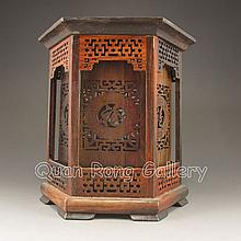 Hollow Out Carved Chinese Natural Hua Li Wood Six Side Brush Pot