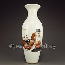 Hand-painted Chinese Su Color Porcelain Vase w Old Man & Fortune Kid