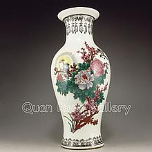 Hand-painted Chinese Five Colors Porcelain Vase w Magpies & Peonys & Mark