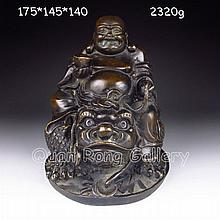 Chinese Bronze Carved Statue - Laughing Buddha & Fortune Beast