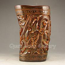 Hand Carved Chinese Ox Horn Sacrifice Big Cup w Dragon