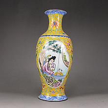 Hand-painted Chinese Enamel Vase Qian Long Mark