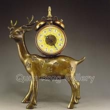 Chinese Brass Plum Flower Clock Deer Machinery Statue