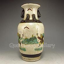 Hand-painted Chinese Su Cai Porcelain Vase w Marked