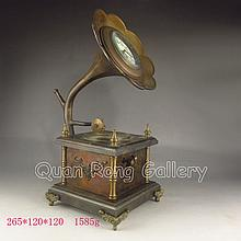 Chinese Phonograph Shape Bronze Mechanical Clock