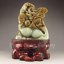 Hand Carved Chinese Natural Hetian Jade Statue w Dragon & Peanut
