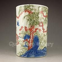 Superb Hand-painted Chinese Three Colour Porcelain Brush Pot