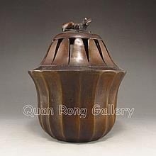 Handmade Chinese Bronze Incense Burner w Qianlong Mark